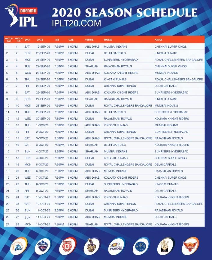IPL Schedule-1 2020