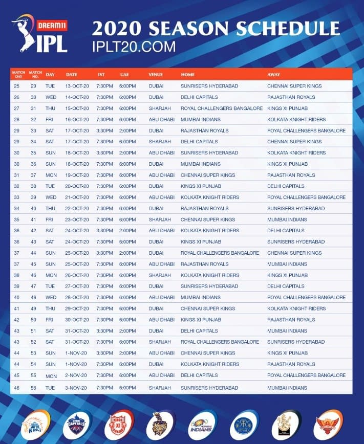 IPL Schedule 2 2020